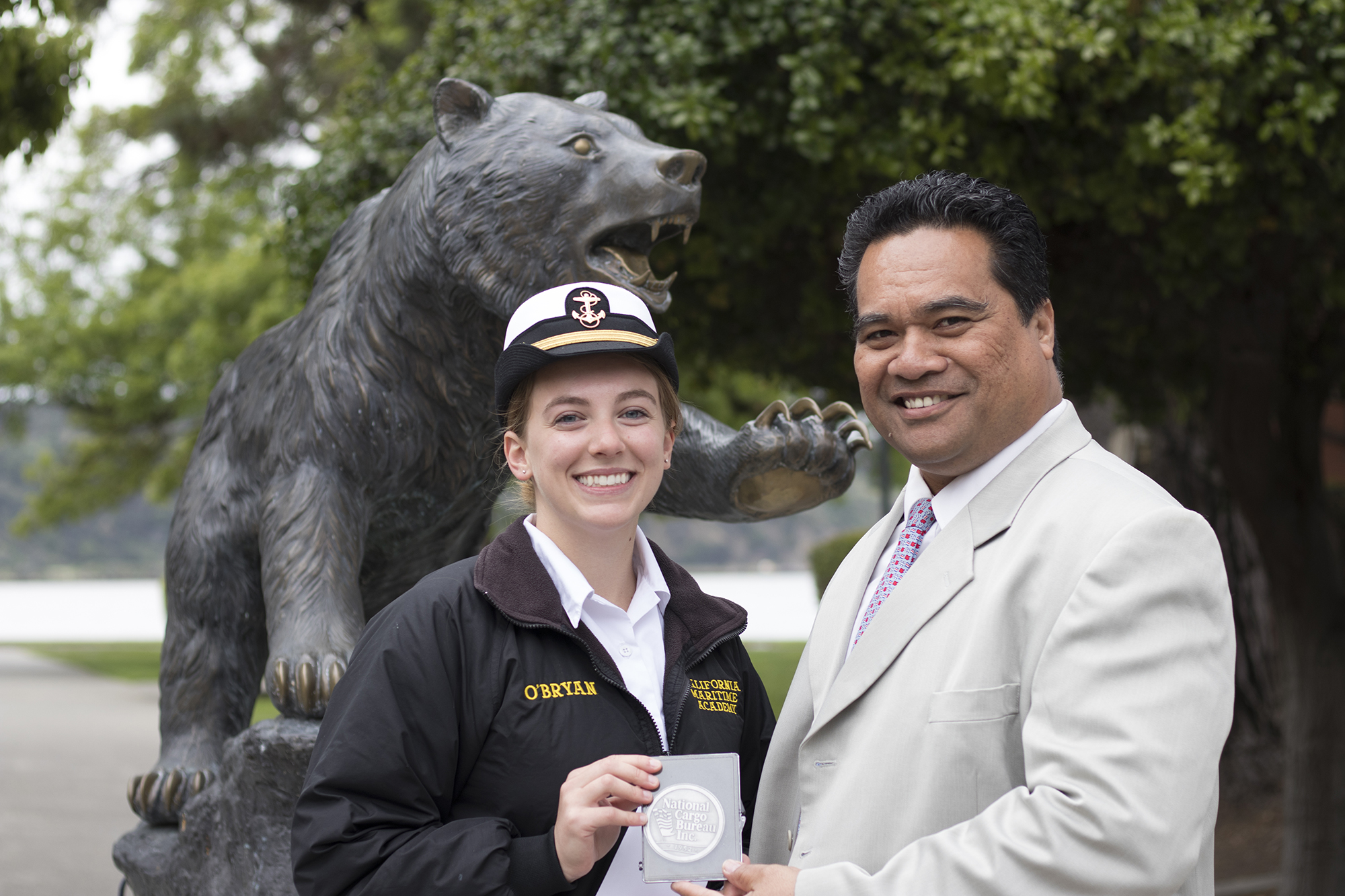Capt. Fotu presenting Cadet Elizabeth O'Bryan with the NCB Excellence in Cargo Operations Award at California Maritime Academy April 18 2018